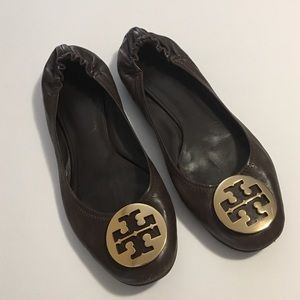 Tory Burch Brown Reva Leather Flats